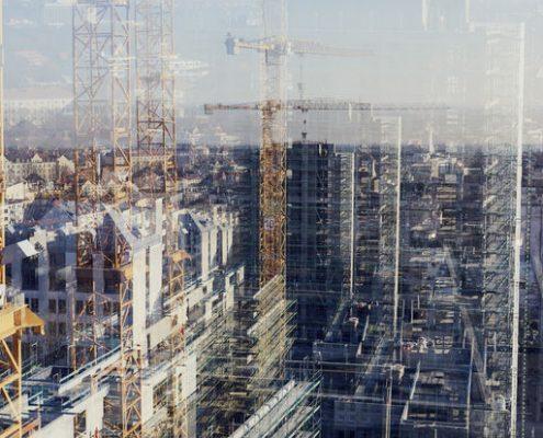 Abstrahiertes Baustellenbild